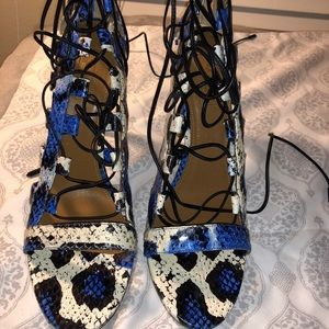 Aquazzura- Blue Snakeskin Lace Up Sandals